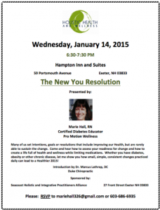 New You Resolution January 14 2015 Exeter, NH