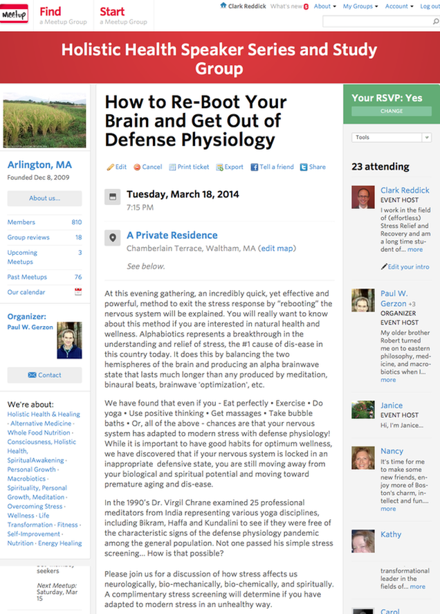 Holistic Health Speaker Series How to Reboot your Brain Tuesday, March 18, 2014